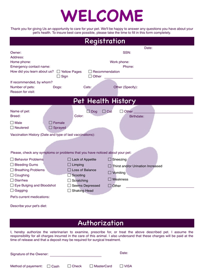 Veterinary form for Veterinary forms templates