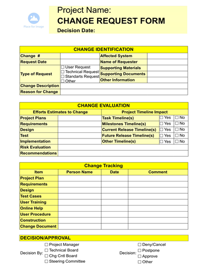 Change request form for Documents for change management